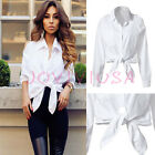 Womens Slim Cold-Shoulder White Bowknot Cotton Blend Blouse Top Shirt Fashion