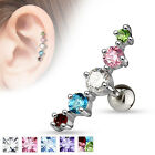 Journey Curve 5 CZ Surgical Steel Helix Tragus Cartilage Barbell Stud Earring image