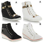 Womens Ladies Wedge Trainers Mid Heel High Tops Sneakers Ankle Boots Size 3-8
