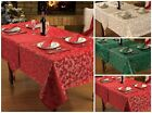 Christmas Festive Jacquard Table Cloth Tableware / Sparkle Glitter Green Gold