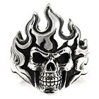 SKULL WITH FLAME RING STERLING SILVER 925