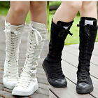 Women's PUNK EMO Shoes Canvas Boots Zip Lace Up Knee High Sneaker Pumps Hot Star