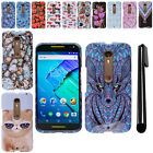 For Motorola Moto X Style XT1575 PATTERN HARD Protector Case Cover + Pen