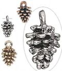 6 Antiqued Gold Silver Or Copper Pewter Pine Cone Charms