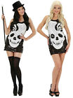 LADIES ZOMBIE COSTUME SEQUIN SKULL DRESS DAY OF DEAD HALLOWEEN PARTY OUTFIT NEW