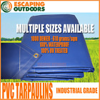 HEAVY DUTY BLUE PVC TARPS 610 gsm Many Sizes available. BEST QUALITY ON EBAY!!!!