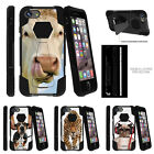 """For Apple iPhone 7 Plus (5.5"""") Hybrid Dual Bumper Case Stand Silly Animals"""