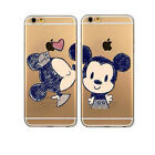 Cute Cartoon Mickey Kiss Couples Clear Case Cover For iPhone 5 5S SE 5C 6 7 Plus