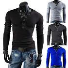 Hot Casual Autumn Man's T-shirt V-Neck Annular Ppopper Sanding Slim Long Sleeve