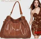 High Quality Shoulder Bag Women Brand Handbag Snake Embossed Leather Bag 4 color