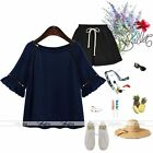 Women Half Flare Sleeve Hollow Lace Blue Korean Blouse Top Shirt Casual Clubwear