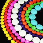 """10mm-18mm Coin Rondelle Beads Chalk Turquoise Dyed/Stabilized Mix Beads 16"""""""