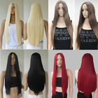 28'' Heat Resistant Womens Lady Long Straight Hair Full Wigs No Bang Cosplay