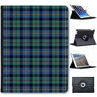 Colourful Tartan Checked Designs Folio Cover Leather Case For Apple iPad