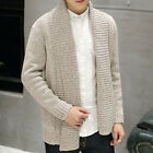 Korean Mens Casual Sweater Collar Coats Knitted Slim Jackets Knitwear Cardigans