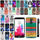 For LG G3 Stylus D690 D690N D693N D693 PATTERN HARD Back Case Phone Cover + Pen