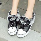 New Womens Warm Rabbit Fur Trim Snow Boots Winter Lace Up Fashion Sneaker Shoes