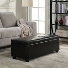 "48"" Elegant Faux Leather Solid Rectangular Storage Ottoman Bench Footrest Large"