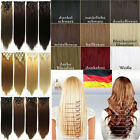 US Stock Premium Full Head Clip In Hair Extensions Curly Straight Brown Black GN