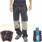 Mens Stretch Work Trouser with Cordura Knee Pad Pockets Workwear FREE KNEE PADS