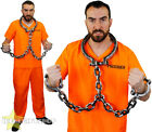 ORANGE PRISONER COSTUME WITH SHACKLES ADULTS UNISEX FANCY DRESS TOP AND TROUSERS