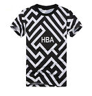 HBA Black White Striped T-shirt Men round neck short sleeve T-shirt