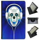 Skull With Headphones Universal Folio Leather Case For Samsung Tablets