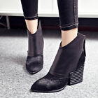 Womens Genuine Leather Suede Pointy Toe Ankle Boots Zip Block High heel Shoes pl