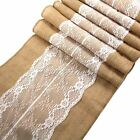 275x30CM Burlap Hessian & Lace Table Runner For Xmas Wedding Party Decor Supply