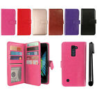 For LG K10 Premier LTE L62VL K430 Magnetic Card Holder Wallet Cover Case + Pen