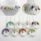 Natural Genstone Tree of Life Owl Wire Wrap Healing Crystal Pendant Necklace