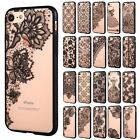 Ultra Thin Clear Black Lace Flower Hard Case Cover for Apple iPhone 7 6 6S Plus