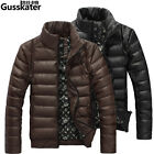 Winter Men PU leather stand collar casual Slim Puffer Jackets Down Parka Outwear