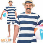 1920s Bathing Suit + Hat Mens Fancy Dress 20s Victorian Swimsuit Adults Costume