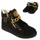 Ladies Sneaker Fur Lined Winter Warm Faux Leather Winter Gold Zip Trainer Shoes