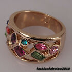 New Rose Gold GP Full of Colorful Crystal Stone Cocktail Fashion Ring IR039A