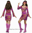4-22 Hippie Chick Costume + Peace Medallion Ladies 60s Hippy Fancy Dress Outfit