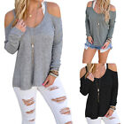 Sizes Women's Autumn Loose O-neck Off Shoulder Long Sleeve Knitted Sweater NEW