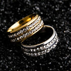 Size 6-13 Fashion Stainless Steel Men Women Wedding Party Silver/Gold Band Ring