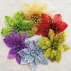 "10pcs 6"" Glitter Hollow Wedding Party Christmas Flowers Xmas Tree Decorations BE"