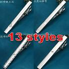 New Mens Plain silver crystal Standard Tie Clip Holder Clasp Bars Pins 6cm