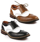Metrocharm Men's Two Tone Perforated Wing Tip Lace Up Fashion Oxford Dress Shoes