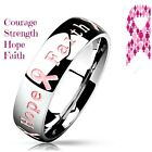 "Szs 5 to 12 ""Courage Strength Hope Faith"" Pink Ribbon Stainless Steel Ring"