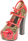 TooFast ROSE and LEOPARD Bow Schleifen Strap MARY JANE Heels Rockabilly