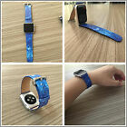 Blue Stars Genuine Leather Strap Bracelet Watch Bands For Apple Watch Series1 2