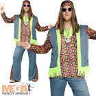 Hippie Mens Fancy Dress 1960s 1970s Hippy Groovy Peace Adults Costume Outfit New