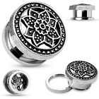 One Pair Steel Tribal Lotus Top Screw Fit Hollow Tunnels Gauges Earrings