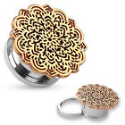 Pair Surgical Steel Rose Gold Tribal Flower Hollow Screw Plugs Earrings Gauges
