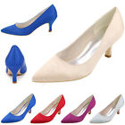 Satin Bridal Wedding Party Dress Shoes Pointed Toe Slip On Mid Heels Women Pumps