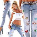WoW Exclusive MOZZAAR Destroyed Jeans Strass Pailletten Neu